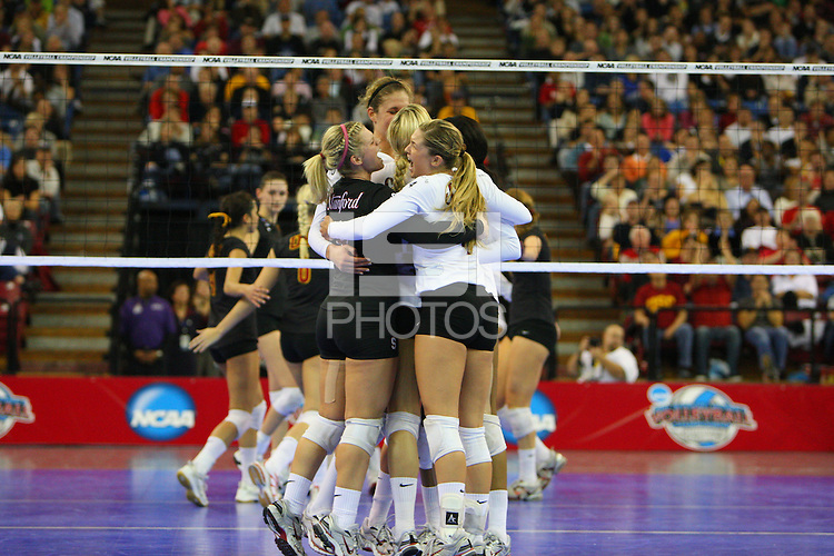 13 December 2007: Stanford Cardinal Gabi Ailes (left) and Bryn Kehoe (right) during Stanford's 23-30, 30-20, 30-25, 20-30, 16-14 win against the USC Trojans in the 2007 NCAA Division I Women's Volleyball Final Four semifinal match at ARCO Arena in Sacramento, CA.