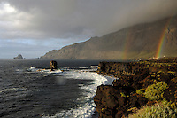 Double rainbow over the sea,punta de Roques de Salmor. El Hierro, Canary Islands.