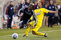 8 MAY 2010:  New England Revolutions' Sainey Nyassi (14) and Adam Moffat of the Columbus Crew (22) during MLS soccer game between New England Revolution vs Columbus Crew at Crew Stadium in Columbus, Ohio on May 8, 2010. The Columbus defeated New England 3-2.