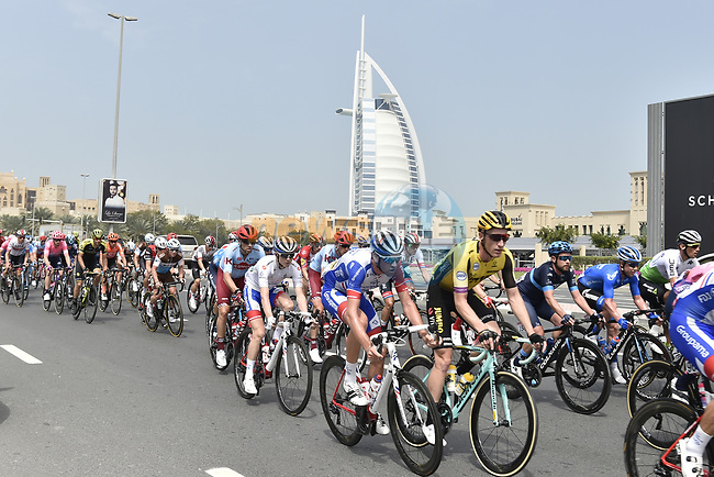 The start of Stage 4 of the 2019 UAE Tour, running 197km form The Pointe Palm Jumeirah to Hatta Dam, Dubai, United Arab Emirates. 26th February 2019.<br /> Picture: LaPresse/Fabio Ferrari | Cyclefile<br /> <br /> <br /> All photos usage must carry mandatory copyright credit (© Cyclefile | LaPresse/Fabio Ferrari)