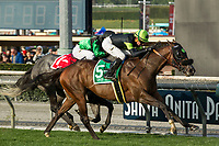 ARCADIA, CA  DECEMBER 26:  #5 Bowies Hero, ridden by Kent Desormeaux,) wins the Mathis Brothers Mile (Grade ll) on December 26, 2017 at Santa Anita Park in Arcadia, CA. (Photo by Casey Phillips/ Eclipse Sportswire/ Getty Images)