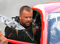 Jun 17, 2017; Bristol, TN, USA; NHRA pro mod driver Jonathan Gray during qualifying for the Thunder Valley Nationals at Bristol Dragway. Mandatory Credit: Mark J. Rebilas-USA TODAY Sports