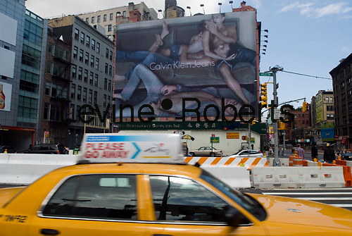 A Calvin Klein Jeans billboard in the Soho neighborhood of New York on Sunday, June 14, 2009.  Klein's advertisements use sex and provocative images to test society's cultural and moral boundries. (© Richard B. Levine)