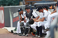 West Michigan Michigan Whitecaps catcher Austin Athmann (25) sits in the bullpen during the Midwest League baseball game against the Fort Wayne TinCaps on April 26, 2017 at Fifth Third Ballpark in Comstock Park, Michigan. West Michigan defeated Fort Wayne 8-2. (Andrew Woolley/Four Seam Images via AP Images)