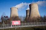 Steam rising from cooling towers, Didcot coal fired power station, Berkshire, England