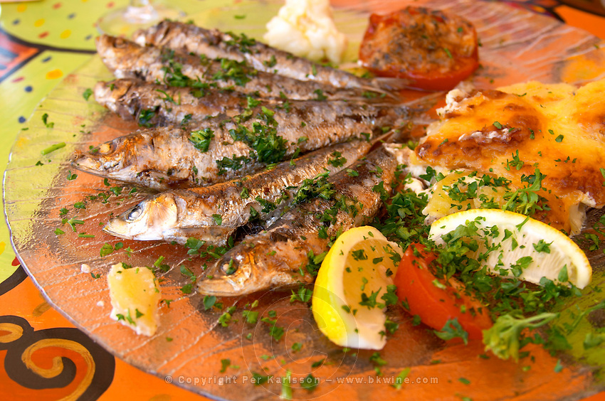 Collioure. Roussillon. Grilled sardines with potato gratin. France. Europe.