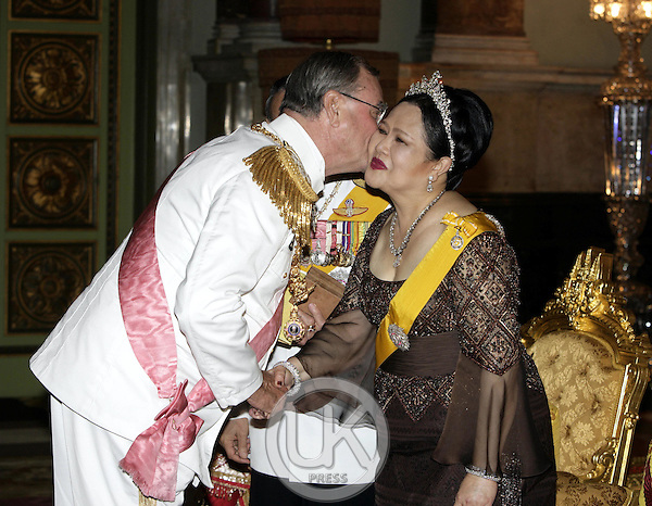 Prince Henrik of Denmark attends a Banquet for foreign monarchs & royal guests at the Chakri Maha Prasat Throne Hall, hosted by Thai King Bhumibol Adulyadej, during the celebrations to mark the 60th anniversary of his accession to the throne..