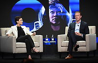 "BEVERLY HILLS - AUGUST 1: CBS Interactive President and COO Marc DeBevoise and CBS All Access Executive VP of Original Content Julie McNamara onstage during the ""CBS All Access Executive"" panel at the CBS All Access portion of the Summer 2019 TCA Press Tour at the Beverly Hilton on August 1, 2019 in Los Angeles, California. (Photo by Frank Micelotta/PictureGroup)"