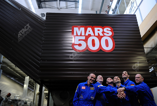 The six crew members of the Mars 500 project in Moscow, an expirement to simulate the conditions of isolation that would be experienced by a manned mission to Mars, minutes before they entered the capsuled enviroment at Moscow's Institute of Biomechanical Problems. March 31, 2009