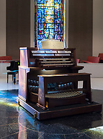 The Mildred Miles Crew '45 Memorial Organ in Occidental's Herrick Memorial Chapel and Interfaith Center was donated to the College in memory of Crew, who occasionally served as organist for Student Church services. She died in 1964. Manuel Rosales, president and tonal director of Rosales Organ Builders, has maintained the instrument, built by the Schlicker Organ Co., off and on since 1973. Though the organ was rarely used for some 15 years prior to its 50th birthday last October, Rosales, in conjunction with Kevin Cartwright of Cartwright Pipe Organ Co., undertook a major restoration on the neo-baroque-style instrument that was designed for the chapel by Clarence Mader, Occidental's professor of organ and College organist from 1955 to 1968.<br />