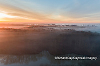 63895-16904 Sunrise and fog Stephen A. Forbes State Park-aerial-Marion Co. IL