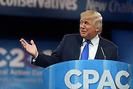 March 14, 2013  (National Harbor, Maryland) Businessman Donald Trump addresses attendees of the 2013 Conservative Political Action Conference (CPAC) in National Harbor, MD on March 14, 2013.  (Photo by Don Baxter/Media Images International)