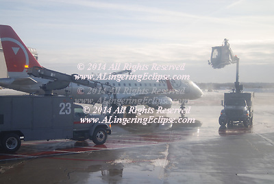 When there are freezing conditions and precipitation, deicing an aircraft is crucial. Frozen contaminants cause critical control surfaces to be rough and uneven disrupting smooth air flow and greatly degrading the ability of the wing to generate lift (force) and increasing drag. This situation can cause a crash. If large pieces of ice separate when the aircraft is in motion, they can be ingested in engines or hit propellers and cause catastrophic failure. Frozen contaminants can jam control surfaces, preventing them from moving properly. Because of this potentially severe consequence, de-icing is performed at airports where temperatures are likely to drop below the freezing point.<br />