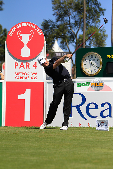 David Drysdale (SCO) on the 1st during Thursday's Round 1 of The Open De Espana at The PGA Catalunya Resort. 15th May 2014.<br /> Picture:  Thos Caffrey / www.golffile.ie