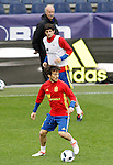 Spain's Vicente del Bosque (t), Mikel San Jose (c) and David Jimenez Silva during training session previous friendly match. May 31,2016.(ALTERPHOTOS/Acero)