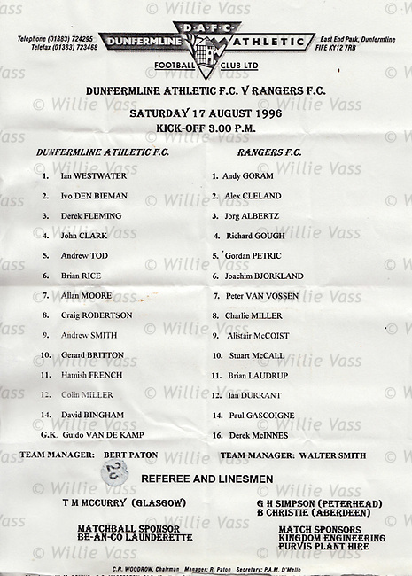 Teamsheet for Dunfermline v Rangers 17th August 1996