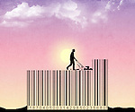 Illustrative image of man mowing on barcode representing cost cutting