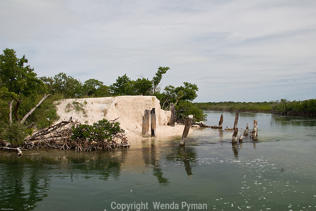 Remnants of a bridge in the mangrove channels near Cudjoe Bay.