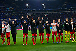 16.03.2019, VELTINS Arena, Gelsenkirchen, Deutschland, GER, 1. FBL, FC Schalke 04 vs. RB Leipzig<br /> <br /> DFL REGULATIONS PROHIBIT ANY USE OF PHOTOGRAPHS AS IMAGE SEQUENCES AND/OR QUASI-VIDEO.<br /> <br /> im Bild Jubel Leipzig nach Sieg<br /> <br /> Foto © nordphoto / Kurth