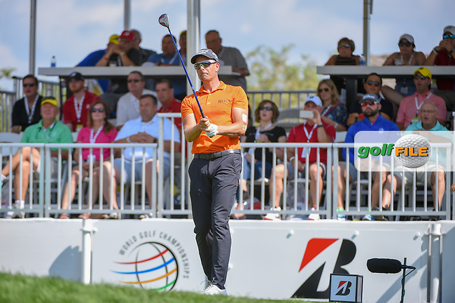 Henrik Stenson (SWE) watches his tee shot on 1 during 3rd round of the World Golf Championships - Bridgestone Invitational, at the Firestone Country Club, Akron, Ohio. 8/4/2018.<br /> Picture: Golffile   Ken Murray<br /> <br /> <br /> All photo usage must carry mandatory copyright credit (© Golffile   Ken Murray)