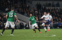 Tottenham Hotspur's Christian Eriksen scores his side's first goal  <br /> <br /> Photographer Rob Newell/CameraSport<br /> <br /> The Premier League - Tottenham Hotspur v Brighton and Hove Albion - Tuesday 23rd April 2019 - White Hart Lane - London<br /> <br /> World Copyright © 2019 CameraSport. All rights reserved. 43 Linden Ave. Countesthorpe. Leicester. England. LE8 5PG - Tel: +44 (0) 116 277 4147 - admin@camerasport.com - www.camerasport.com
