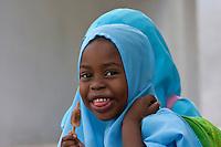 Zanzibar, Tanzania.  Zanzibari Muslim Girl with Headscarf.