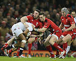 Anthony Watson of England tackled by Alex Cuthbert and George North of Wales  - RBS 6Nations 2015 - Wales  vs England - Millennium Stadium - Cardiff - Wales - 6th February 2015 - Picture Simon Bellis/Sportimage