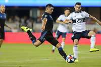 SAN JOSE, CA - AUGUST 24: Cristian Espinoza #10 of the San Jose Earthquakes during a Major League Soccer (MLS) match between the San Jose Earthquakes and the Vancouver Whitecaps FC  on August 24, 2019 at Avaya Stadium in San Jose, California.