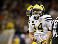 Brendan Gibbons of Michigan in action during Sugar Bowl game against Virginia Tech at Mercedes-Benz SuperDome in New Orleans, Louisiana on January 3rd, 2012.  Michigan defeated Virginia Tech, 23-20 in first overtime.