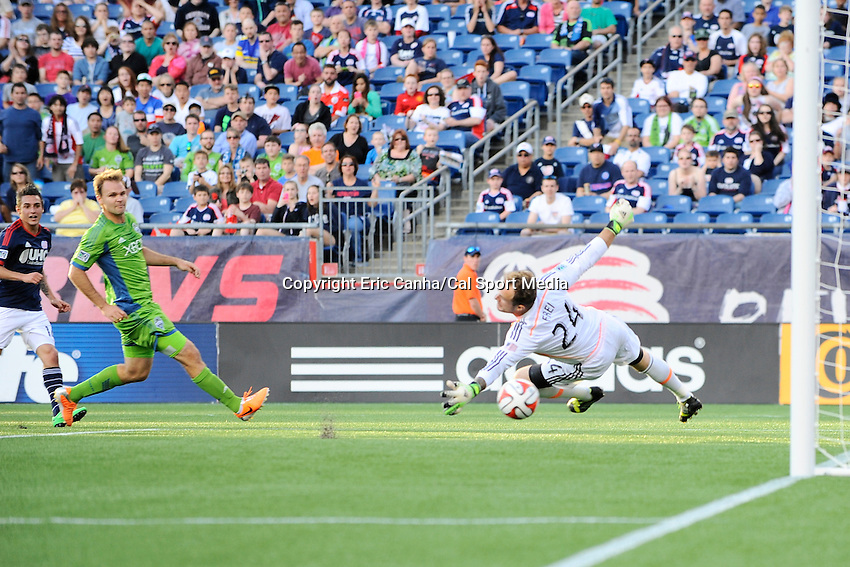 May 11, 2014 - Foxborough, Massachusetts, U.S. - Seattle Sounders FC goalkeeper Stefan Frei (24) lets the ball get by during the MLS game between the Seattle Sounders FC and the New England Revolution held at Gillette Stadium in Foxborough Massachusetts.  New England defeated Seattle 5-0   Eric Canha/CSM