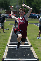 NWA Democrat-Gazette/ANDY SHUPE<br /> Will Salts of Springdale leaps Wednesday, May 15, 2019, while competing in the long jump portion of the state decathlon championship at Ramay Junior High School. Visit nwadg.com/photos to see more photographs from the meet.