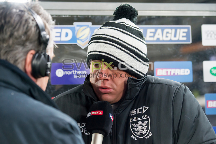 Picture by Allan McKenzie/SWpix.com - 02/03/2018 - Rugby League - Betfred Super League - Hull FC v Warrington Wolves - KC Stadium, Kingston upon Hull, England - Hull FC coach Lee Radford interviewed post match in freezing conditions.