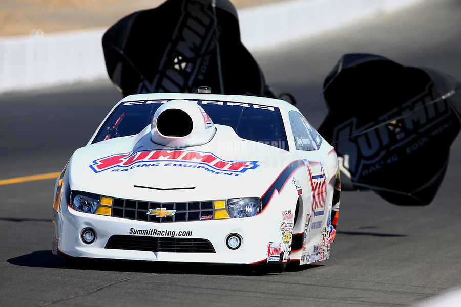 Jul. 27, 2013; Sonoma, CA, USA: NHRA pro stock driver Greg Anderson during qualifying for the Sonoma Nationals at Sonoma Raceway. Mandatory Credit: Mark J. Rebilas-