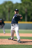 New York Yankees pitcher Giovanny Gallegos (40) during a minor league spring training game against the Pittsburgh Pirates on March 28, 2015 at Pirate City in Bradenton, Florida.  (Mike Janes/Four Seam Images)