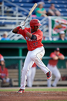 Batavia Muckdogs right fielder Jerar Encarnacion (27) at bat during a game against the West Virginia Black Bears on June 19, 2018 at Dwyer Stadium in Batavia, New York.  West Virginia defeated Batavia 7-6.  (Mike Janes/Four Seam Images)
