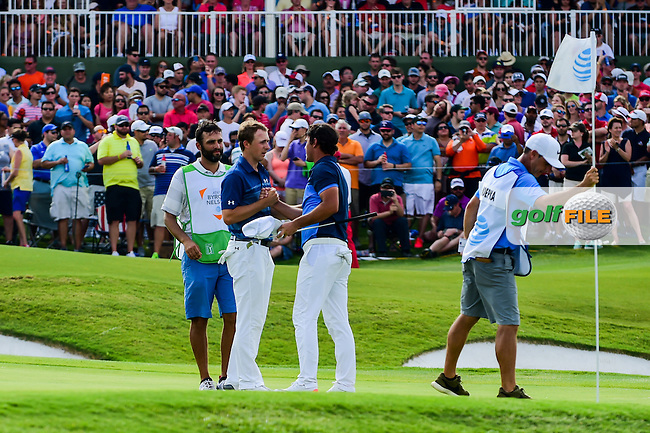 Jordan Spieth (USA) shakes hands with Brooks Koepka (USA) following round 4 of the AT&amp;T Byron Nelson, TPC Four Seasons, Irving, Texas, USA. 5/22/2016.<br /> Picture: Golffile | Ken Murray<br /> <br /> <br /> All photo usage must carry mandatory copyright credit (&copy; Golffile | Ken Murray)