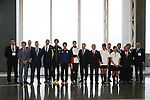 Group photo,<br /> APRIL 3, 2014 : IOC committee members inspected the athletes village, Koji Murofushi director, Yoichi Masuzoe Tokyo governor  and U23 Rowing national team's member was welcomed at Harumi Port Terminal in Tokyo, Japan. (Photo by AFLO SPORT)