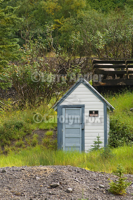 "White wooden outhouse in the Rocky Mountains with ""no trespassing"" sign, Colorado Rockys"