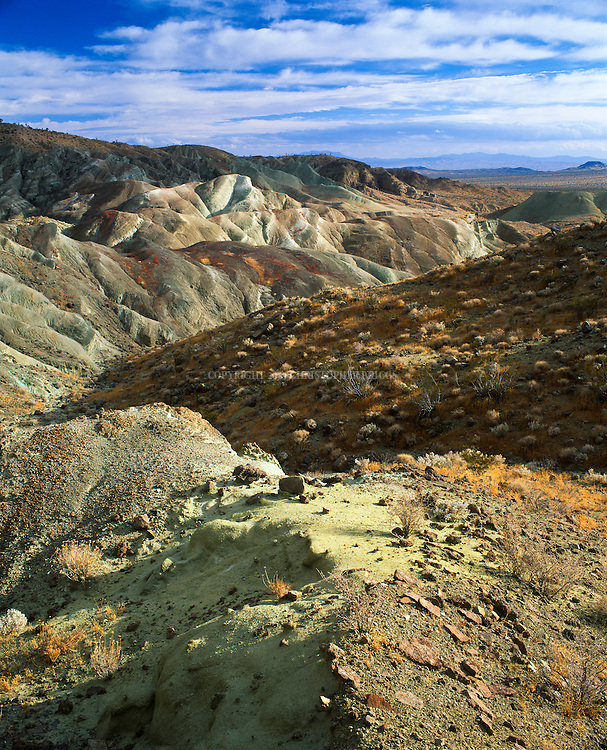 Rainbow Basin is a geological formation in the Calico Peaks range in the Mojave Desert. Majority of fossil beds are found within the sedimentary rocks of the Barstow Formation; include many animals not found in California today, including camels, horses, mastodons, and flamingos. National Natural Landmark (Est. 1966)  and is in the Bureau of Land Management managed Rainbow Basin Natural Area.  San Bernardino County, California.