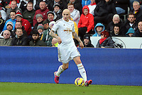 SWANSEA, WALES - FEBRUARY 21: Jonjo Shelvey of Swansea during the Barclays Premier League match between Swansea City and Manchester United at Liberty Stadium on February 21, 2015 in Swansea, Wales.