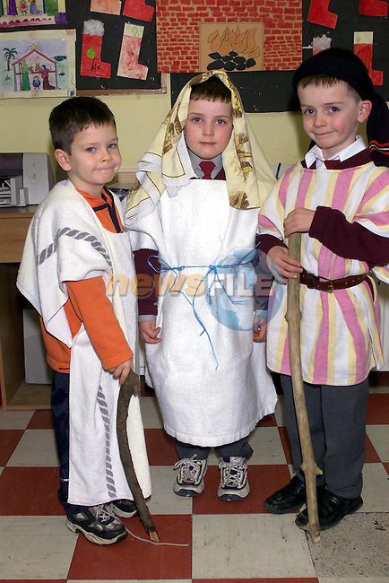 Gary Doyle, Ciaran Hurley and David Connolly who took part in the Tullyalen NS Nativity play..Picture Fran Caffrey Newsfile.
