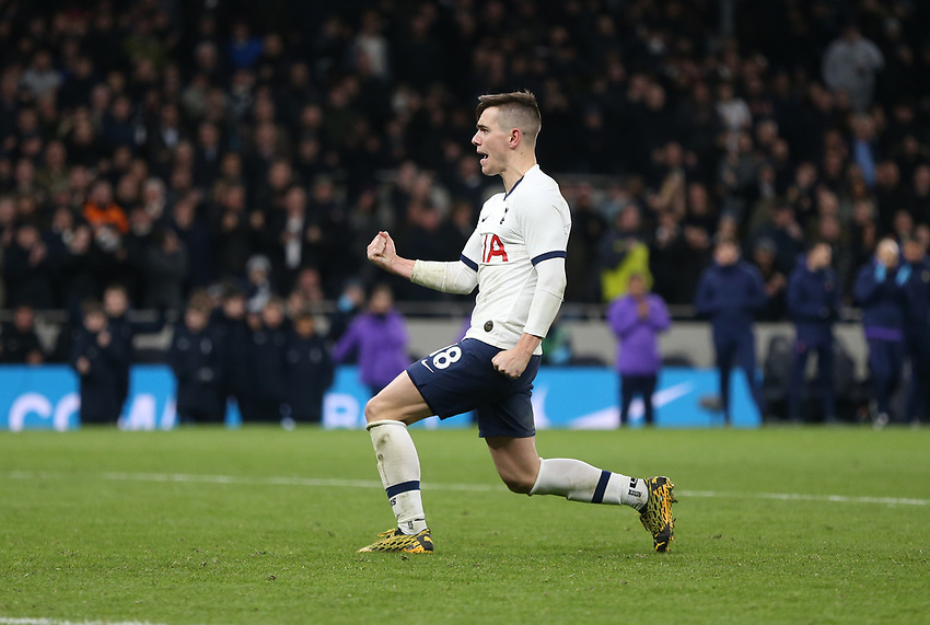 Tottenham Hotspur's Giovani Lo Celso celebrates after scoring his penalty during the shoot-out<br /> <br /> Photographer Rob Newell/CameraSport<br /> <br /> The Emirates FA Cup Fifth Round - Tottenham Hotspur v Norwich City - Wednesday 4th March 2020 - Tottenham Hotspur Stadium - London<br />  <br /> World Copyright © 2020 CameraSport. All rights reserved. 43 Linden Ave. Countesthorpe. Leicester. England. LE8 5PG - Tel: +44 (0) 116 277 4147 - admin@camerasport.com - www.camerasport.com