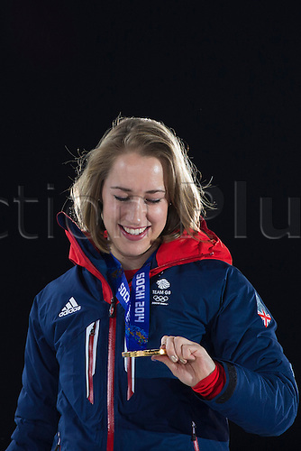 15.02.2014 Sochi, Krasnodar Krai, Russia.   Lizzy YARNOLD (GBR) checks out her Gold medal during the Medal Ceremony for the Women's Skeleton at the Sochi Medals Plaza, Coastal Cluster - XXII Olympic Winter Games