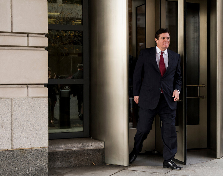 UNITED STATES - NOVEMBER 6: Former Trump campaign chairman Paul Manafort leaves the E. Barrett Prettyman U.S. Courthouse after a court hearing on the terms of his bail and house arrest on Monday, Nov. 6, 2017. (Photo By Bill Clark/CQ Roll Call)