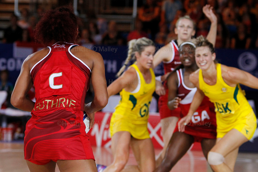 Mcc0055084 . Daily Telegraph<br /> <br /> England lost to Australia by one point in the Netball Preliminary Rounds on Day Three of the 2014 Commonwealth Games in Glasgow .<br /> <br /> 25 July 2014