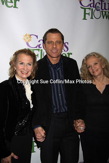 "Juliet Mills ""Tabitha"" Passions and wife of Maxwell Caulfield and sister Hayley Mills pose with  All My Children's Maxwell Caulfield ""Pierce Riley"" & (Colby's, Dynasty ""Miles Colby"", Grease 2) who stars in the Off-Broadway play Cactus Flower on opening night on March 10, 2011 at the Westside Theatre Upstairs, New York City, New York. The after party was held at B. Smith's Restaurant. (Photo by Sue Coflin/Max Photos)"