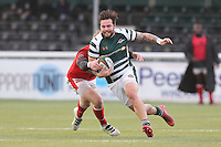 Aaron Penberthy of Ealing Trailfinders evades the tackle during the Greene King IPA Championship match between Ealing Trailfinders and London Welsh RFC at Castle Bar , West Ealing , England  on 26 November 2016. Photo by David Horn / PRiME Media Images