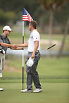 HOWEY IN THE HILLS, FL - MAY 19: Kell Graham and Garrett Brinkley shake hands on the 18th green during the Division III Men's Golf Championship held at the Mission Inn Resort and Club on May 19, 2017 in Howey In The Hills, Florida. (Photo by Cy Cyr/NCAA Photos via Getty Images)