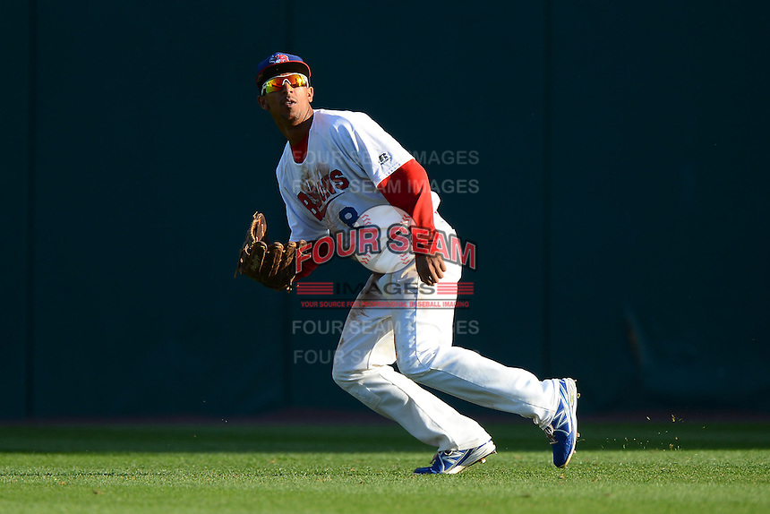 Buffalo Bisons outfielder Anthony Gose (8) during a game against the Pawtucket Red Sox on August 4, 2013 at Coca-Cola Field in Buffalo, New York.  Pawtucket defeated Buffalo 8-1.  (Mike Janes/Four Seam Images)
