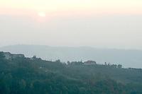 Il tramonto visto dalla strada tra Alba e Ceva.<br /> A view of the sunset from the road between Alba e Ceva, in Piedmont.<br /> UPDATE IMAGES PRESS/Riccardo De Luca